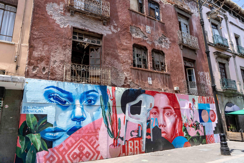Art urbain dans le centre historique de Mexico City.