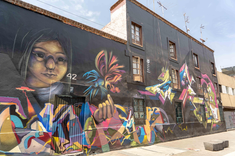 Art urbain dans le centre historique de Mexico City
