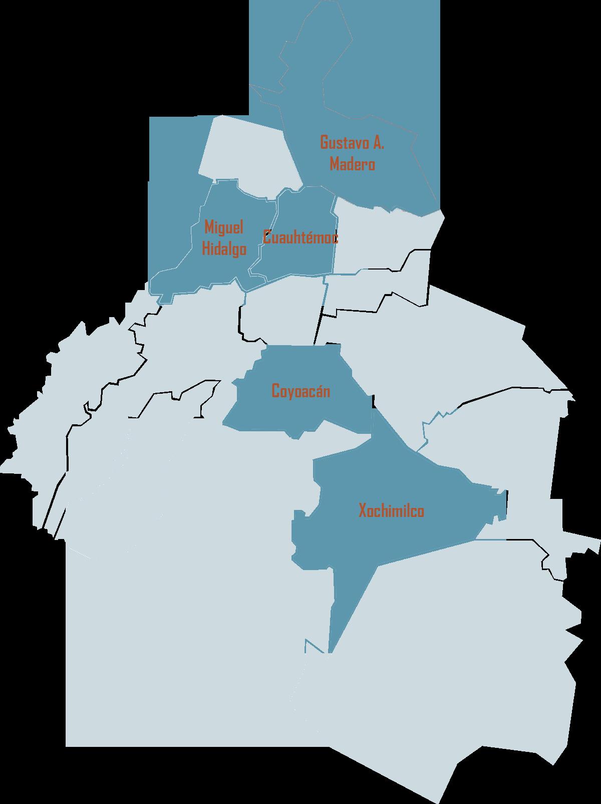 Mexico City est un ensemble de 16 arrondissements, eux-mêmes divisés en colonias.